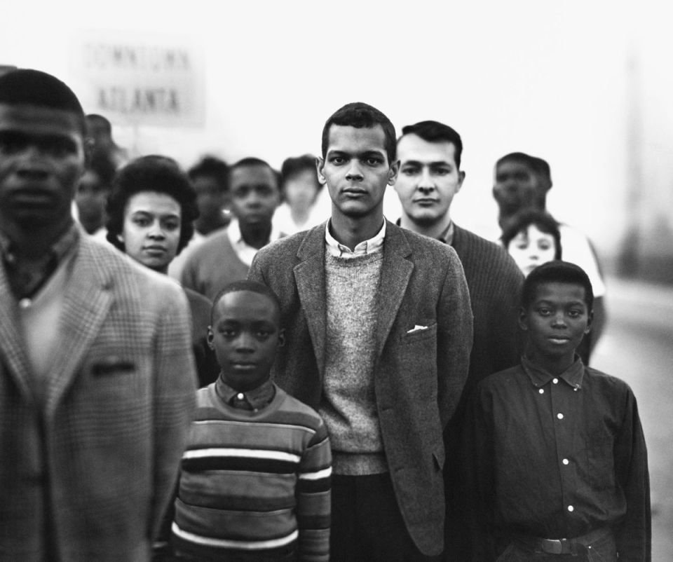 Student Non-violent Coordinating Committee (SNCC), led by Julian Bond, Atlanta, Georgia, March 23, 1963