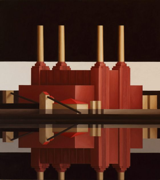 Renny-Tait-Battersea-Reflection-White-Stripe-2017.-Oil-on-canvas.-66-x-61-cms